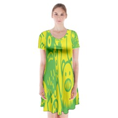 Easter Monster Sinister Happy Green Yellow Magic Rock Short Sleeve V Neck Flare Dress by Mariart