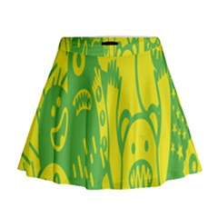 Easter Monster Sinister Happy Green Yellow Magic Rock Mini Flare Skirt by Mariart