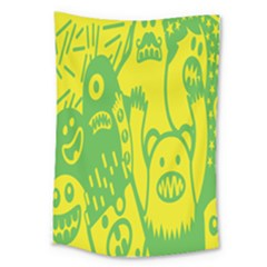 Easter Monster Sinister Happy Green Yellow Magic Rock Large Tapestry by Mariart