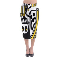 Easter Monster Sinister Happy Magic Rock Mask Face Polka Yellow Midi Pencil Skirt by Mariart