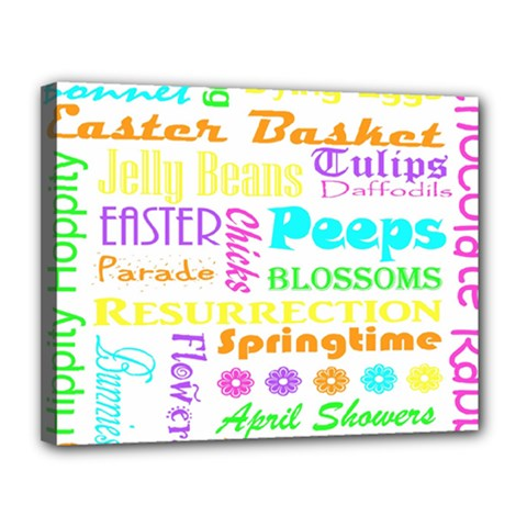 Easter Subway Blossoms Color Rainbow Chocolate Canvas 14  X 11  by Mariart