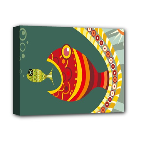 Fish Predator Sea Water Beach Monster Deluxe Canvas 14  X 11  by Mariart
