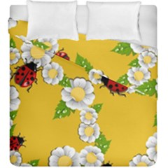 Flower Floral Sunflower Butterfly Red Yellow White Green Leaf Duvet Cover Double Side (king Size) by Mariart