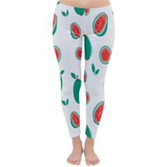 Fruit Green Red Guavas Leaf Classic Winter Leggings by Mariart
