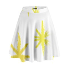 Line Painting Yellow Star High Waist Skirt by Mariart