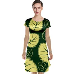 Leaf Green Yellow Cap Sleeve Nightdress by Mariart
