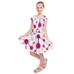 Molecular New Pink Purple Kids  Short Sleeve Dress by Mariart