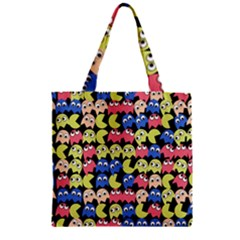 Pacman Seamless Generated Monster Eat Hungry Eye Mask Face Color Rainbow Zipper Grocery Tote Bag by Mariart