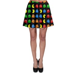 Pacman Seamless Generated Monster Eat Hungry Eye Mask Face Rainbow Color Skater Skirt by Mariart