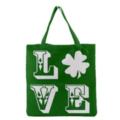 Parks And Tally Love Printable Green Grocery Tote Bag by Mariart