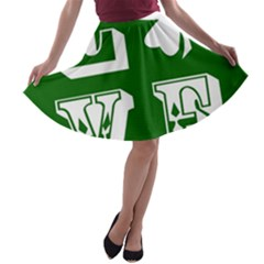 Parks And Tally Love Printable Green A Line Skater Skirt by Mariart