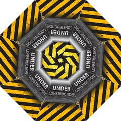 Under Construction Sign Iron Line Black Yellow Cross Hook Handle Umbrellas (medium) by Mariart
