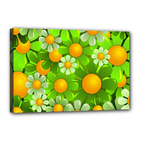 Sunflower Flower Floral Green Yellow Canvas 18  X 12  by Mariart