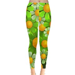 Sunflower Flower Floral Green Yellow Leggings  by Mariart