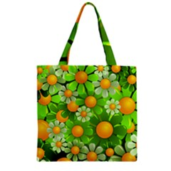 Sunflower Flower Floral Green Yellow Zipper Grocery Tote Bag by Mariart