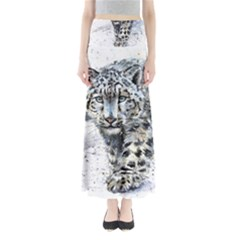 Snow Leopard Maxi Skirts by kostart