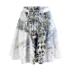 Snow Leopard High Waist Skirt by kostart