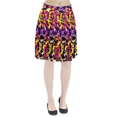 Purple Yellow Flower Plant Pleated Skirt by Costasonlineshop