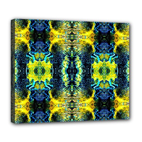 Mystic Yellow Green Ornament Pattern Deluxe Canvas 24  X 20   by Costasonlineshop