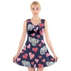 Elephant Lover Hearts Elephants V Neck Sleeveless Dress by BubbSnugg