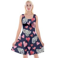 Elephant Lover Hearts Elephants Reversible Velvet Sleeveless Dress by BubbSnugg