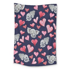 Elephant Lover Hearts Elephants Large Tapestry by BubbSnugg