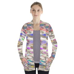 Colorful Watercolors     Women s Open Front Pockets Cardigan