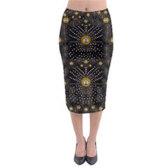 Lace Of Pearls In The Earth Galaxy Pop Art Midi Pencil Skirt by pepitasart