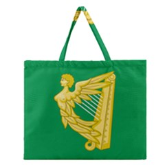 The Green Harp Flag Of Ireland (1642 1916) Zipper Large Tote Bag by abbeyz71