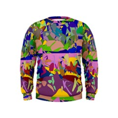 Shapes in retro colors               Kid s Sweatshirt by LalyLauraFLM