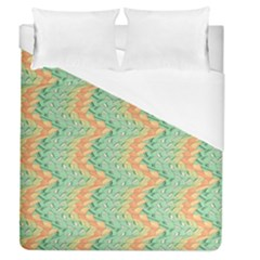 Emerald And Salmon Pattern Duvet Cover (queen Size) by linceazul