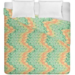Emerald And Salmon Pattern Duvet Cover Double Side (king Size) by linceazul