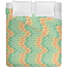 Emerald And Salmon Pattern Duvet Cover Double Side (california King Size) by linceazul