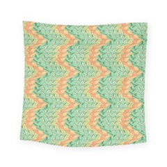 Emerald And Salmon Pattern Square Tapestry (small) by linceazul