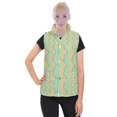 Emerald And Salmon Pattern Women s Button Up Puffer Vest by linceazul