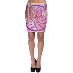 Watercolor Cute Dreamcatcher With Feathers Background Bodycon Skirt by TastefulDesigns