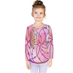 Watercolor Cute Dreamcatcher With Feathers Background Kids  Long Sleeve Tee by TastefulDesigns