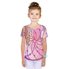 Watercolor Cute Dreamcatcher With Feathers Background Kids  One Piece Tee by TastefulDesigns