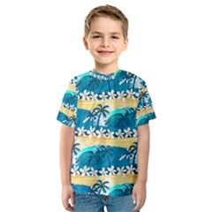 Tropical Surfing Palm Tree Kids  Sport Mesh Tee by pushu