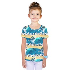 Tropical Surfing Palm Tree Kids  One Piece Tee by pushu