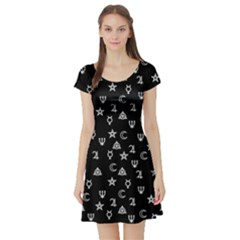 Witchcraft Symbols  Short Sleeve Skater Dress by Valentinaart