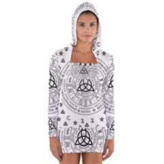 Witchcraft Symbols  Women s Long Sleeve Hooded T Shirt by Valentinaart