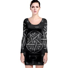 Witchcraft Symbols  Long Sleeve Bodycon Dress by Valentinaart