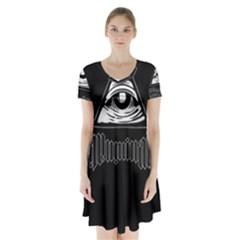 Illuminati Short Sleeve V Neck Flare Dress by Valentinaart