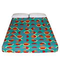 Semicircles And Arcs Pattern Fitted Sheet (california King Size) by linceazul