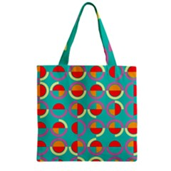 Semicircles And Arcs Pattern Zipper Grocery Tote Bag by linceazul