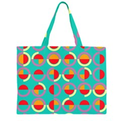 Semicircles And Arcs Pattern Zipper Large Tote Bag by linceazul