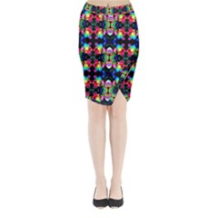 Colorful Bright Seamless Flower Pattern Midi Wrap Pencil Skirt by Costasonlineshop
