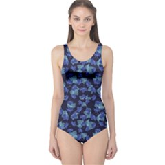 Autumn Leaves Motif Pattern One Piece Swimsuit by dflcprintsclothing
