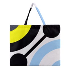 Circle Line Chevron Wave Black Blue Yellow Gray White Zipper Large Tote Bag by Mariart